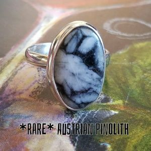 Austrian Pinolith Stone Ring Sterling Silver NEW